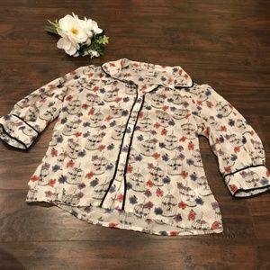 Asos   birdcage printed button down blouse 3/4 sl